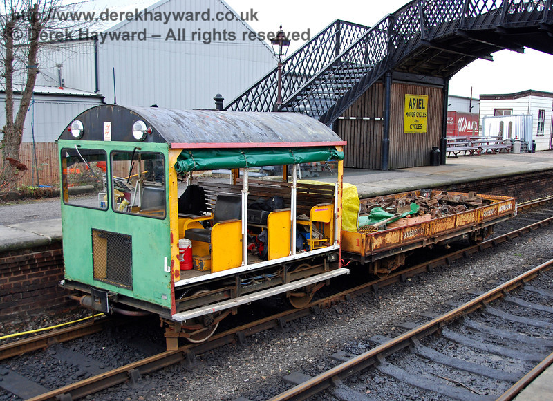 One of the Bluebell Railway's Type 18 Wickham trolleys at Sheffield Park on 24.01.2010, during work to lift the western (Woodpax) sidings