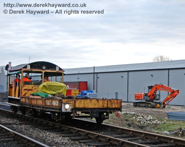 One of the Bluebell Railway's Type 18 Wickham trolleys next to the Woodpax site at Sheffield Park. 24.01.2010
