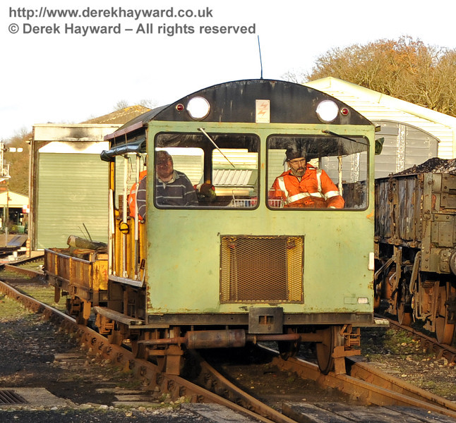 A Type 18 Wickham trolley and trailer in the Down Yard at Horsted Keynes.  22.12.2011  3408