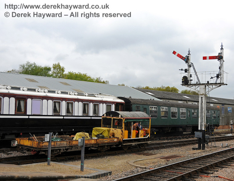 A Type 18 Wickham trolley and trailer departs from Horsted Keynes.  09.05.2010  2518