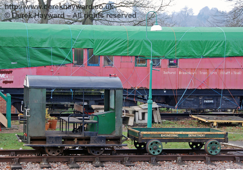 The Type 27 Wickham Trolley at Horsted Keynes before restoration.  22.12.2007   (This unit has subsequently left the railway).