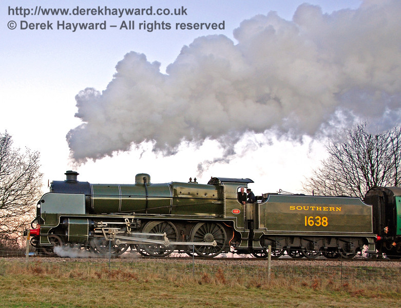 1638 in full steam as it climbs away from Sheffield Park. 16.12.2007