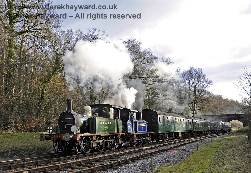 178 and 323 Bluebell steam north from Leamland Bridge.  21.01.2012  3501
