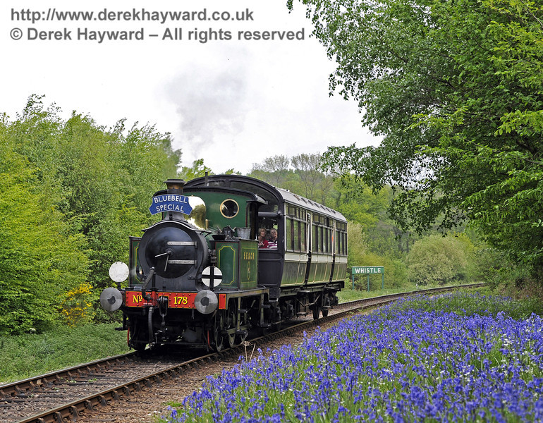 178 approaches Lindfield Wood with a Bluebell Special.  28.04.2011  0980