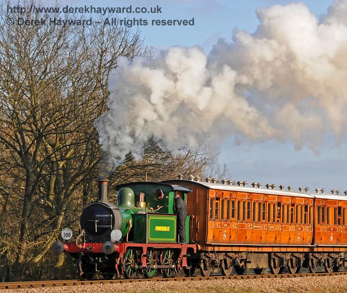 Pioneer II (178) steams north from Sheffield Park. 06.03.2010  1109