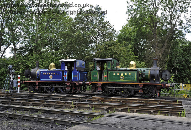 178 and 323 Bluebell stand over the old wash out pit at Sheffield Park.  03.07.2011  2114