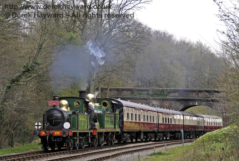 178 and 263 steam north from Leamland Bridge with the Wealden Rambler.  30.03.2014  10134