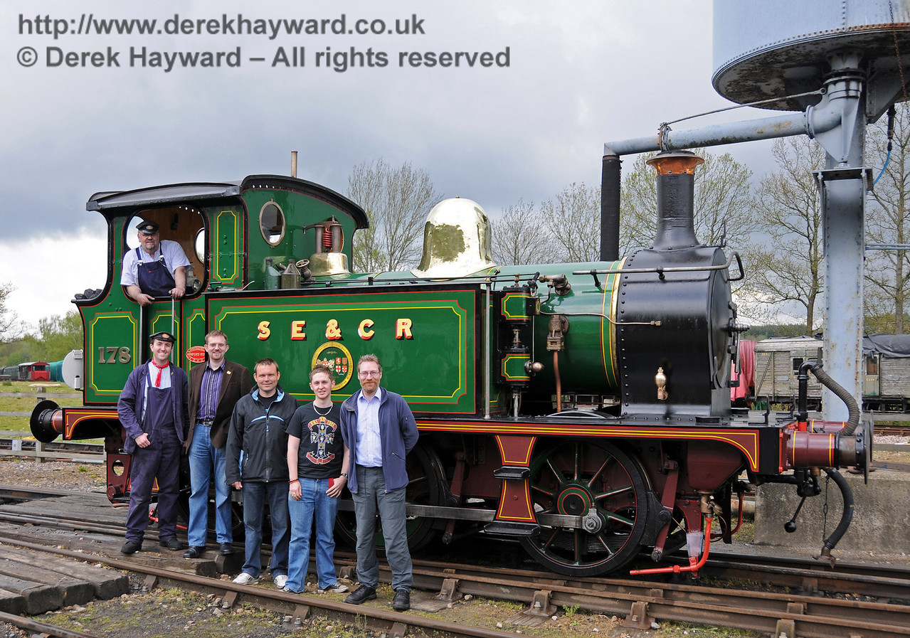 Members of the Locomotive Workshop Working Group pose with 178 in Horsted Keynes Down Yard on the engine's first official day of service. 01.05.2010. In the cab, Phil Stoneman (since deceased); left to right: David Pratt, Rob Faulkner, Sean Smeeth, Nick Weston and Duncan Bourne.  2165