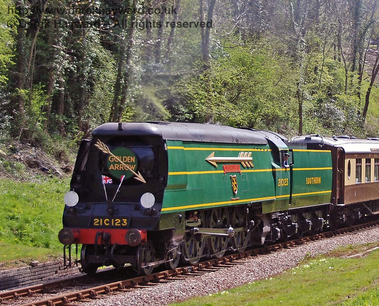 21C123 OVS Bulleid enters the site of West Hoathly station. 26.04.2008