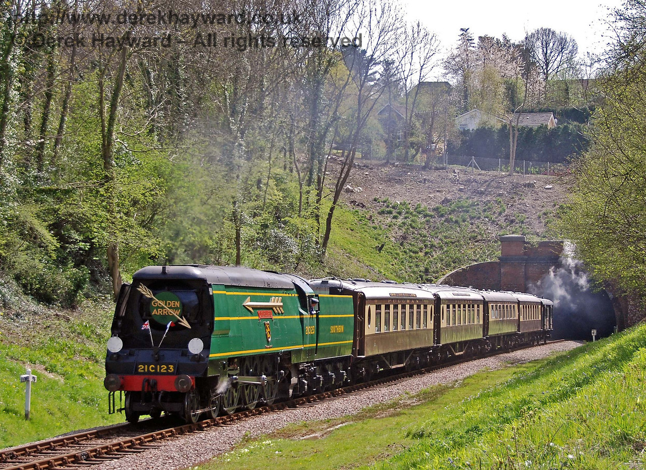 Complete with new arrows on the side of the engine, 21C123 OVS Bulleid hauls the Golden Arrow north from West Hoathly tunnel. 26.04.2008