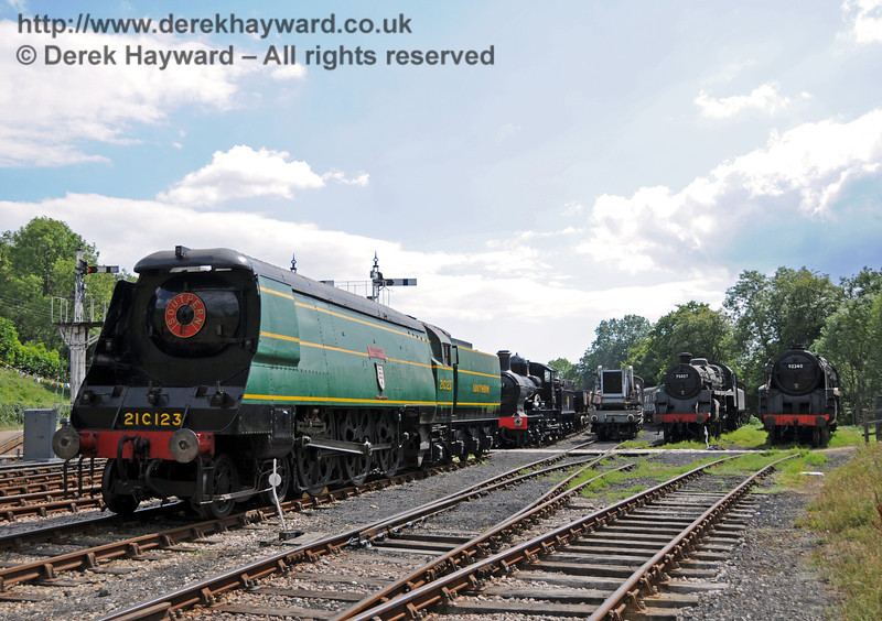 21C123 on display at Horsted Keynes with 9017, 75027 and 92240.  24.07.2010  3333