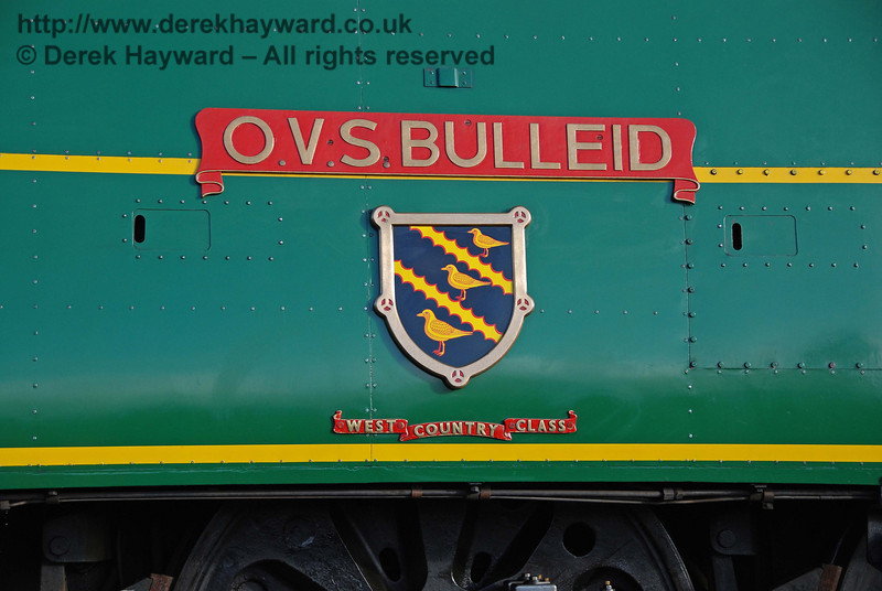The OVS Bulleid nameplate on 21C123. Sheffield Park 01.12.2007