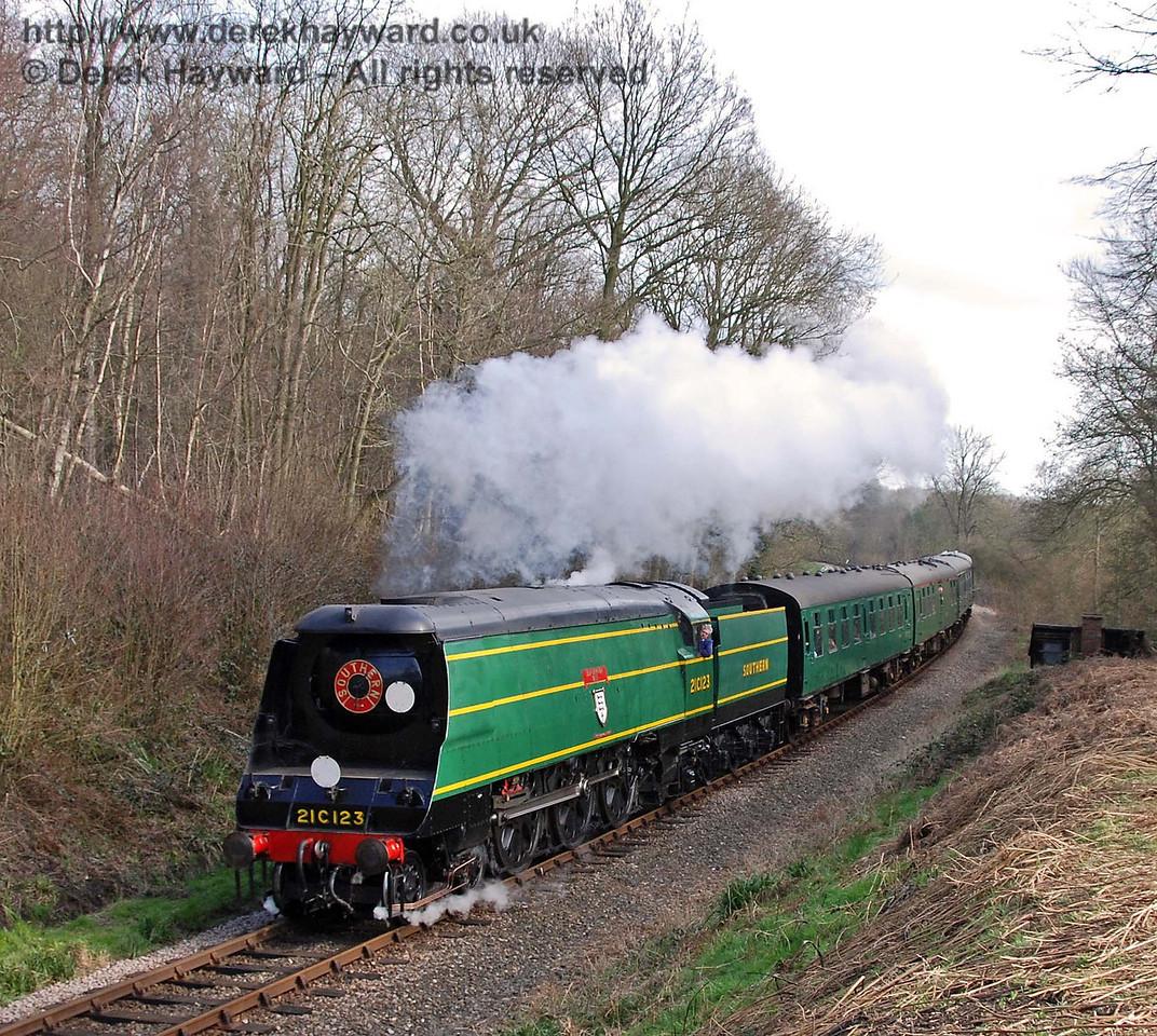 21C123 Blackmoor Vale steams north in Lindfield Wood. 10.03.2007