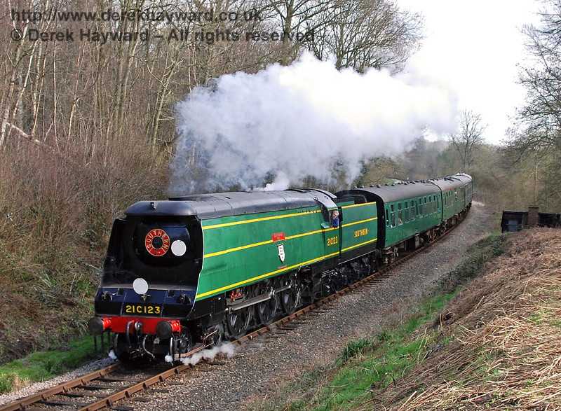 21C123 Blackmoor Vale steams north in Lindfield Wood. 10.03.2007