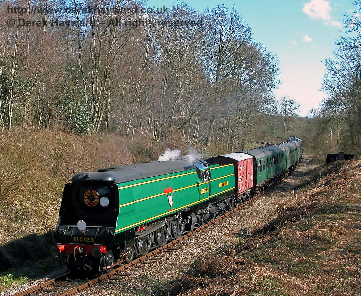 21C123 Blackmoor Vale with a banana van and a service train. Lindfield Wood 08.04.2006