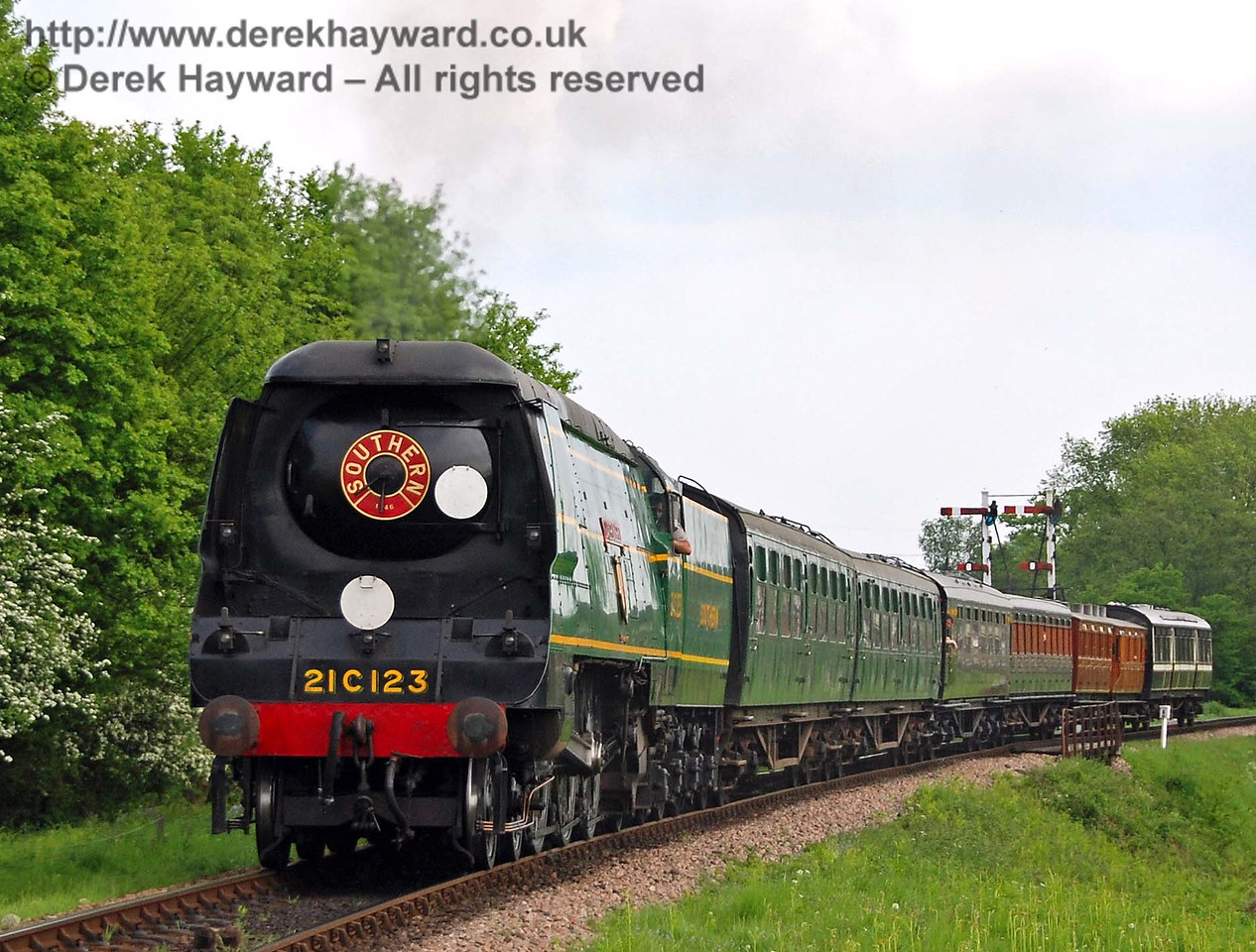 21C123 OVS Bulleid hauls a service train north from Sheffield Park. 10.05.2008