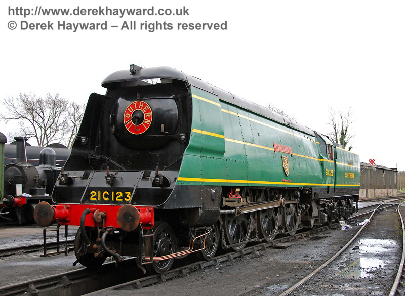 21C123 OVS Bulleid has been withdrawn from service and was on display at Sheffield Park Shed. 23.02.2008