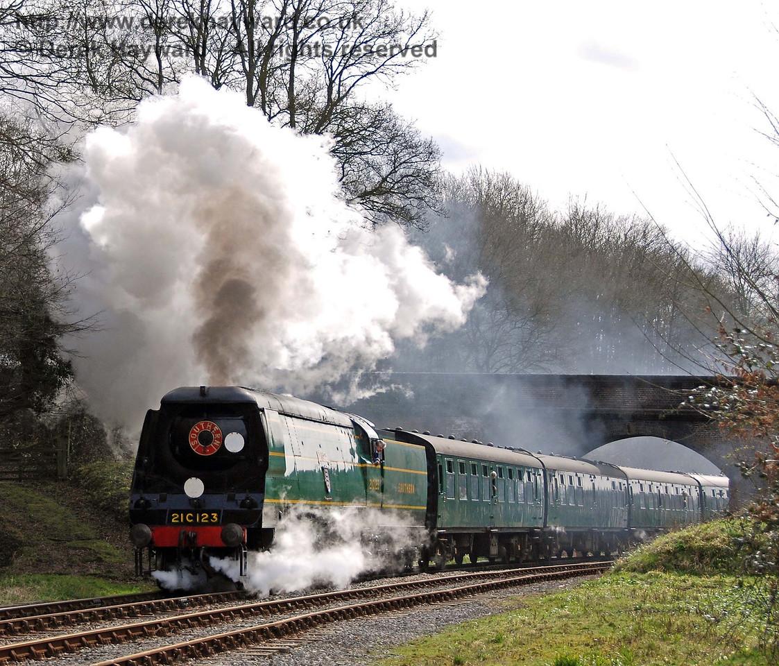 21C123 Blackmoor Vale celebrates it's return to service with an excellent display. Leamland Bridge 10.03.2007