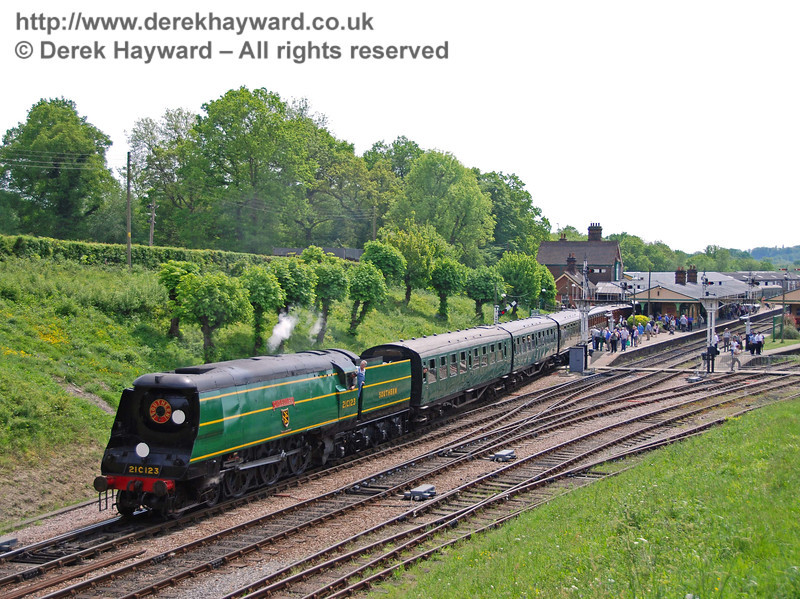 21C123 OVS Bulleid leaves Horsted Keynes with a service train. 10.05.2008