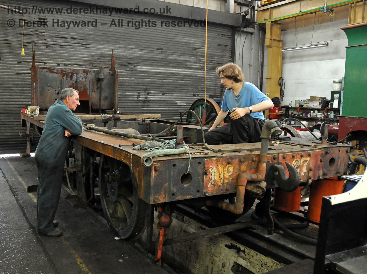 The cylinders in the frames from 27 were being assessed to establish their condition. It was early days, but the initial results were encouraging. The frames may be on display at the 50th Anniversary. Sheffield Park Workshops 25.07.2010  3399