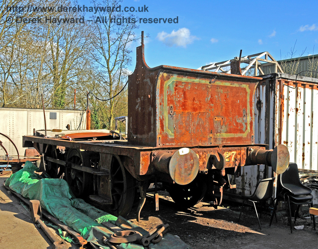 Following the movement of other items, the frames from dismantled P Class 27 have emerged blinking into the daylight. Sheffield Park Workshops 11.04.2010  1865