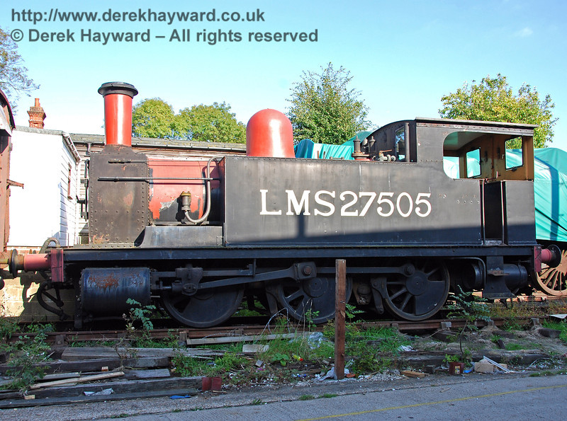 A rare view of the North London Tank, 27505, stored out of service. Sheffield Park 27.09.2009