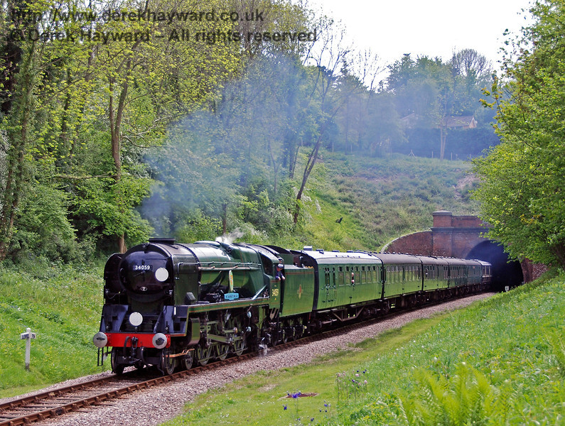 34059 Sir Archibald Sinclair emerges from West Hoathly tunnel with a service train. 10.05.2009  0027