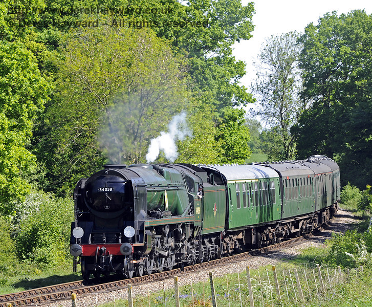 34059 Sir Archibald Sinclair rounds the bend from Sloop Bridge.  03.05.2011  1083