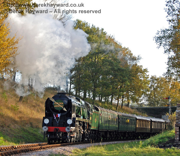 34059 Sir Archibald Sinclair steams north through Horsted House Farm bridge with the Golden Arrow. 25.10.2009  0130