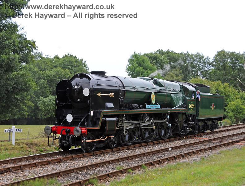 34059 Sir Archibald Sinclair runs round at Kingscote.  15.08.2010  3923