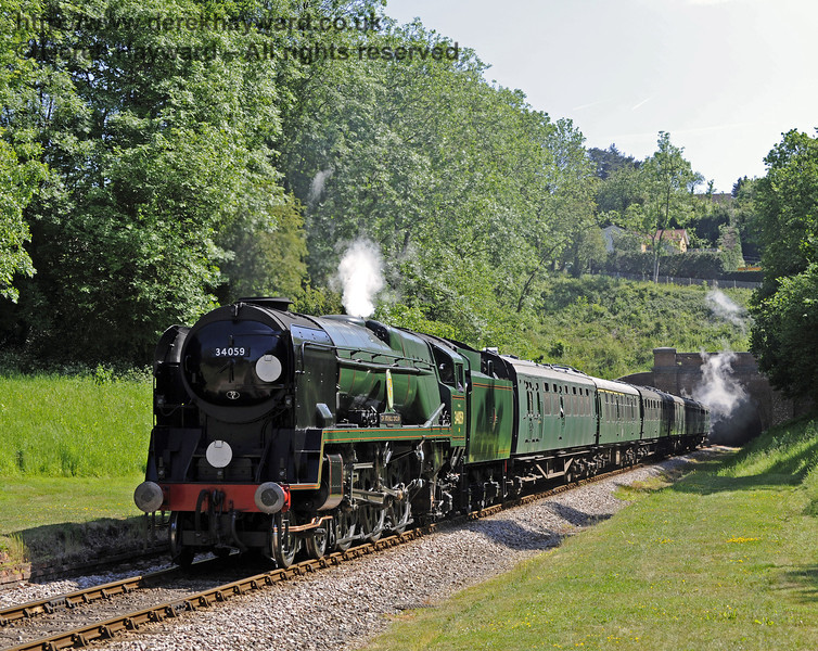 34059 Sir Archibald Sinclair steams north through the site of the former West Hoathly station.  21.05.2011  1626