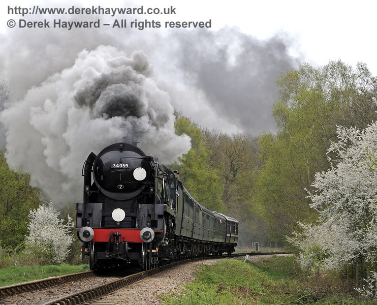 The bushes are in bloom as 34059 Sir Archibald Sinclair climbs Freshfield Bank.  14.04.2011  0750