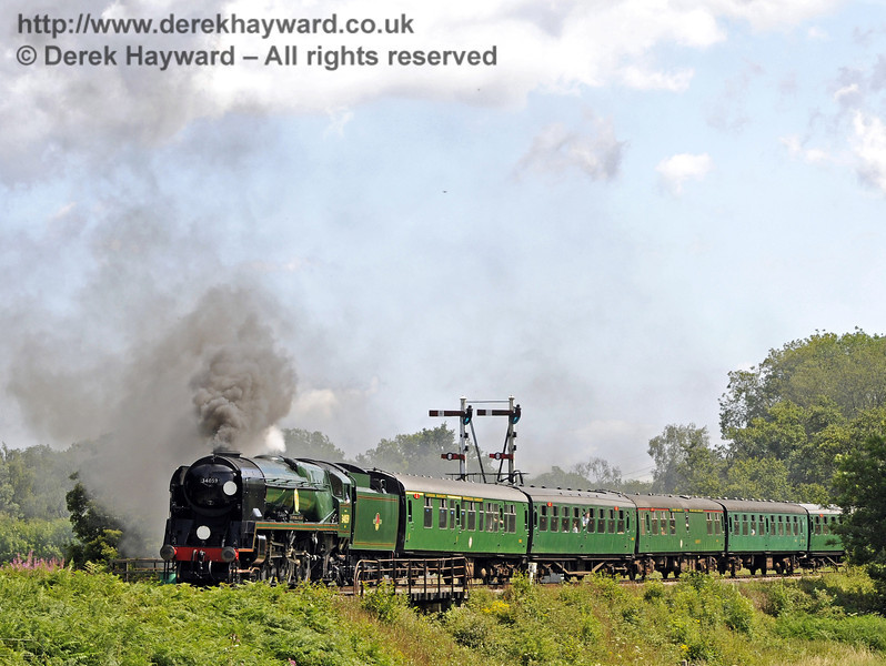 34059 Sir Archibald Sinclair leaves Sheffield Park with a service train.  24.07.2011  7504