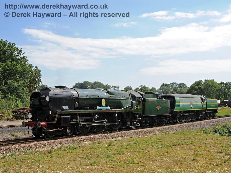 34059 Sir Archibald Sinclair hauls 21C123 Blackmoor Vale up to Horsted Keynes.  24.07.2010  3299