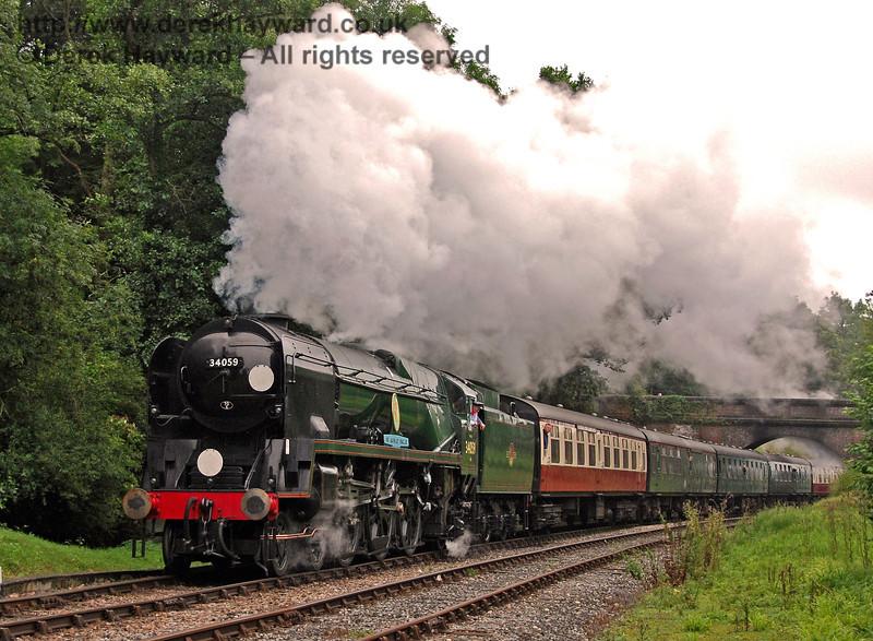 34059 Sir Archibald Sinclair steams north through Leamland Bridge. 07.08.2009  0109