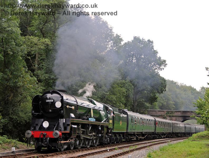 34059 Sir Archibald Sinclair steams north from Leamland Bridge.  15.08.2010  4005