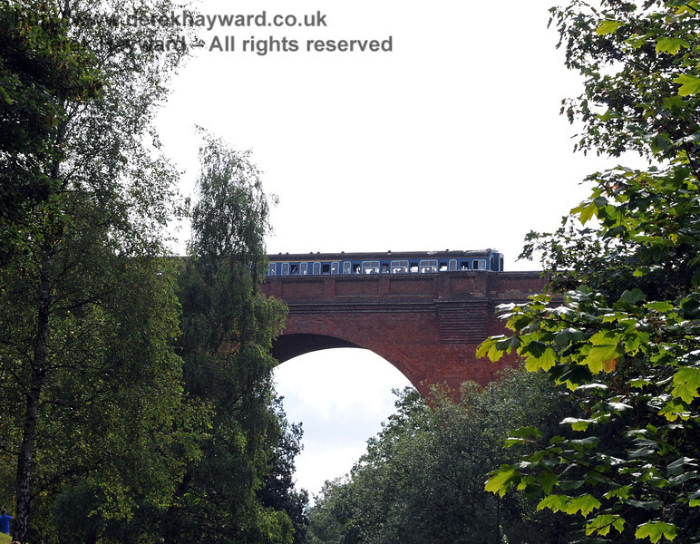 The very first passenger train crosses Hill Place Viaduct following the reopening of the line. 04.09.2010  4393/1