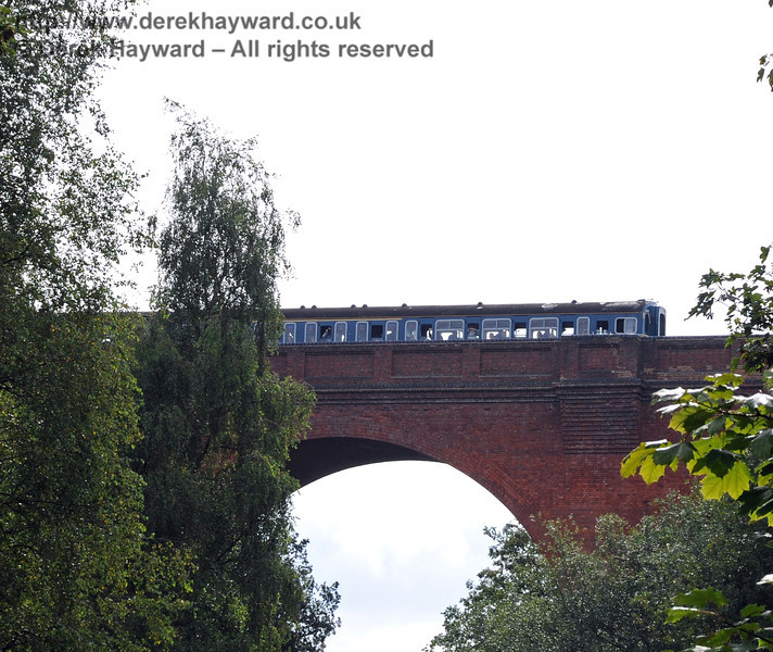 The very first passenger train crosses Hill Place Viaduct following the reopening of the line. 04.09.2010  4393/2