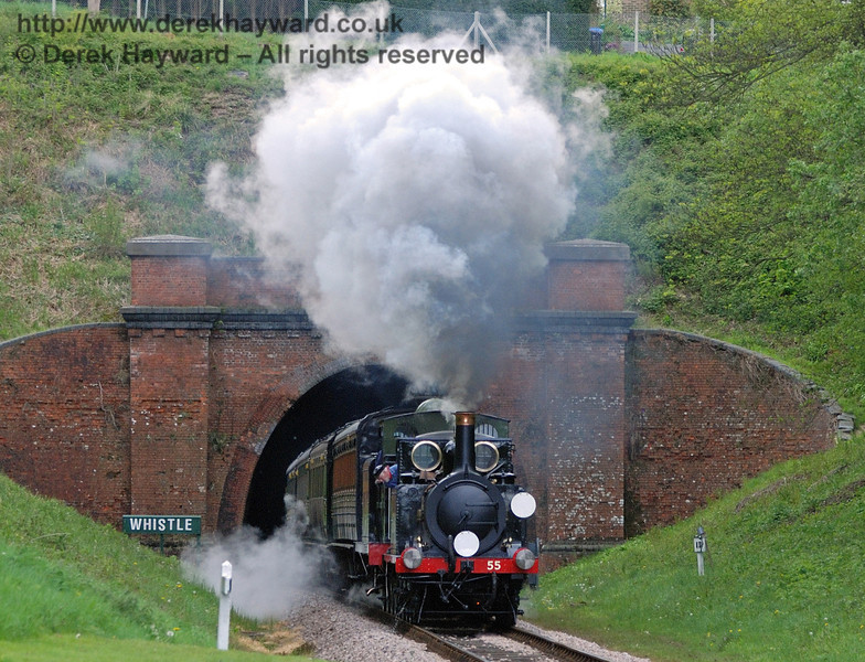 55 Stepney gives a steam display as it emerges from West Hoathly tunnel. 17.05.2010  30018