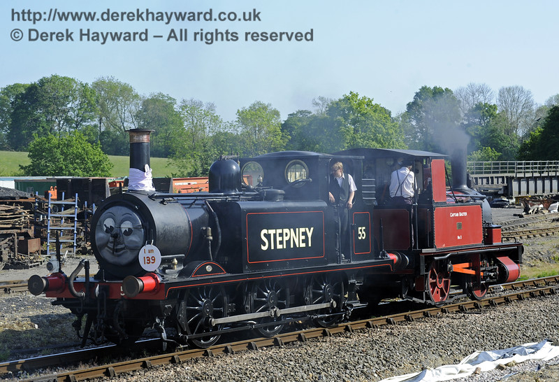 55 Stepney leaves Horsted Keynes following a Stepney Club event to celebrate the engine's 139th birthday. 18.05.2014  9488