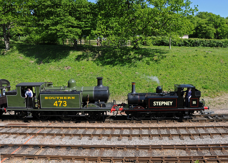 55 Stepney and B473 arrive at Horsted Keynes.  23.05.2010  2710