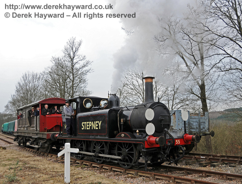55 Stepney on the Ardingly Spur, providing Brake Van rides.  12.03.2011  6247