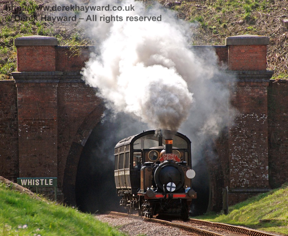 Stepney creates steam effects as it runs north out of West Hoathly tunnel. 10.04.2008