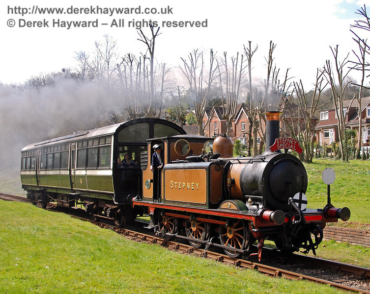 Stepney approaches the foot crossing at West Hoathly. 10.04.2008