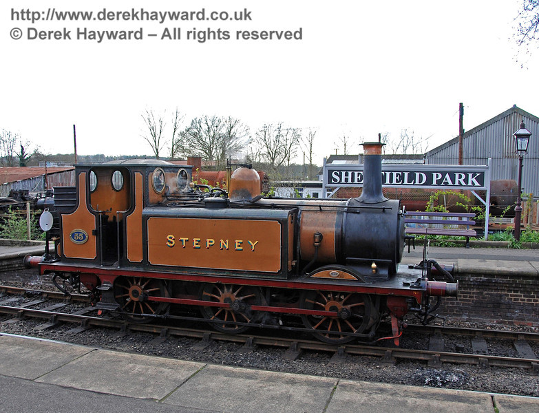 Stepney poses in front of the station name at Sheffield Park. 09.04.2008