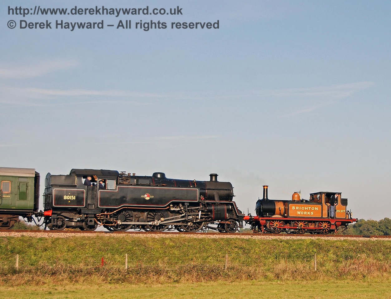 Stepney, running as the Brighton Works shunter, and 80151 on Freshfield Bank en route to Sheffield Park. 21.10.2007