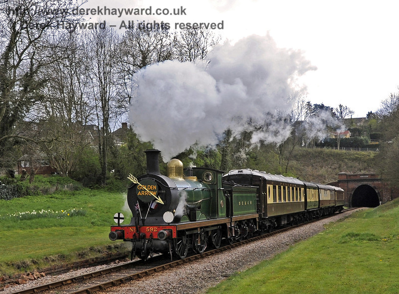 592 emerges from West Hoathly Tunnel with the Golden Arrow.  15.04.2012  4411
