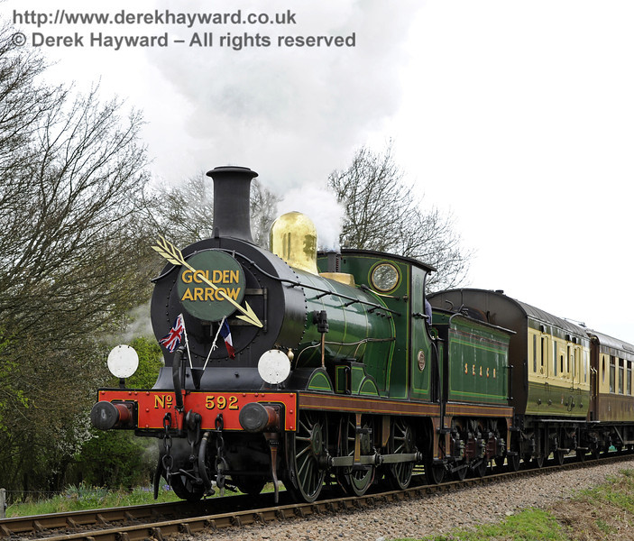 592 leaves Sheffield Park with the Golden Arrow.  14.04.2011  0742
