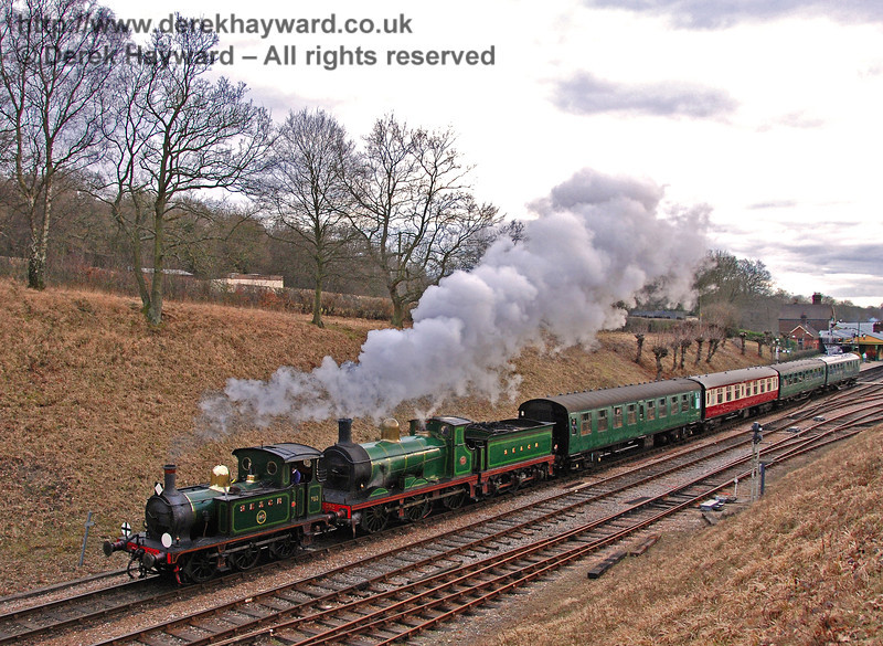 753 (visiting), and 592 leave Horsted Keynes with a service train. 22.02.2009