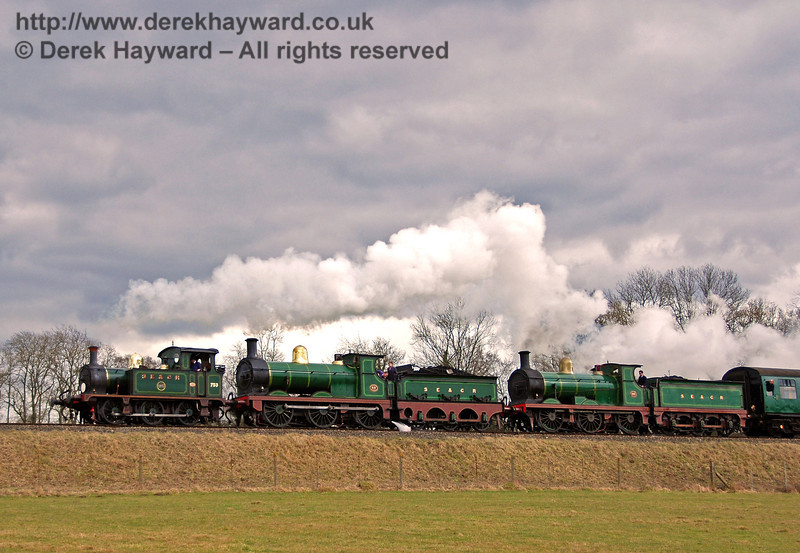 753 (visiting), 592 and 65 steam north towards Horsted Keynes. 22.02.2009